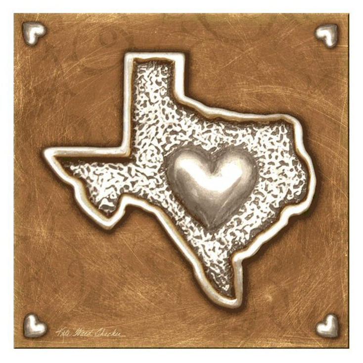 Texas Love II Beverage Coasters by Kate Ward Thacker, Set of 8