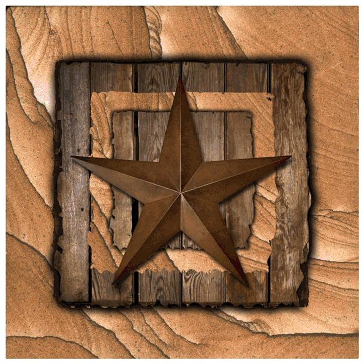 Western Star on Barn Wood Cinnabar Sandstone Coasters, Set of 8