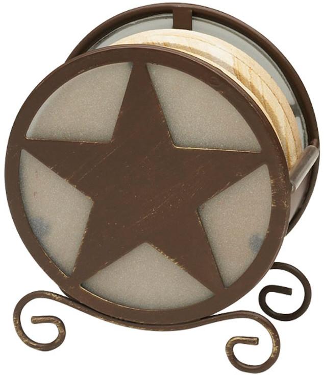 Banded Swirl Sandstone Coasters w/Texas Western Star Holder, Set of 10