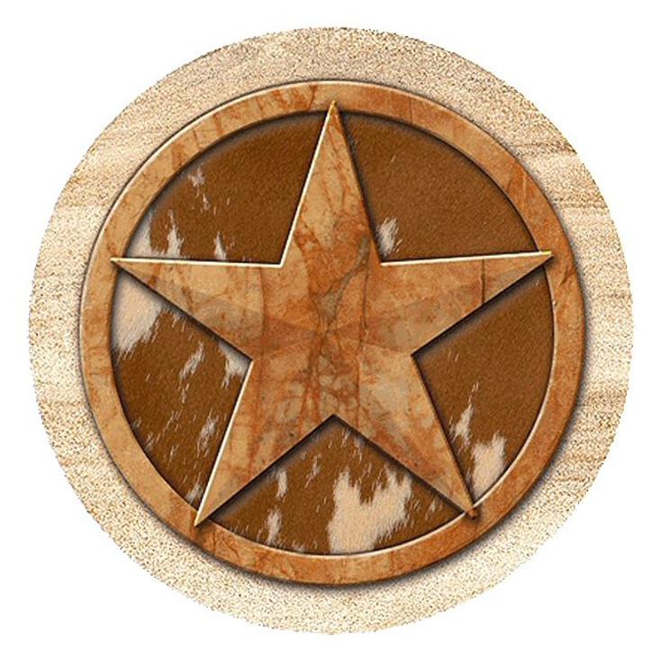 Texas Western Star Sandstone Round Beverage Coasters, Set of 8