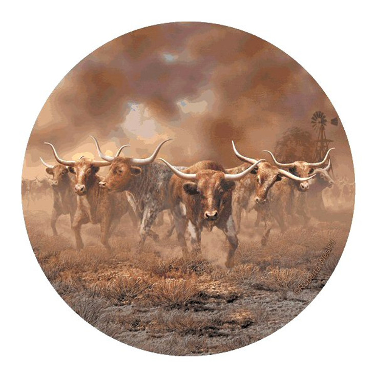 Day of the Horns Bulls Round Coasters by Roberta Wesley, Set of 8