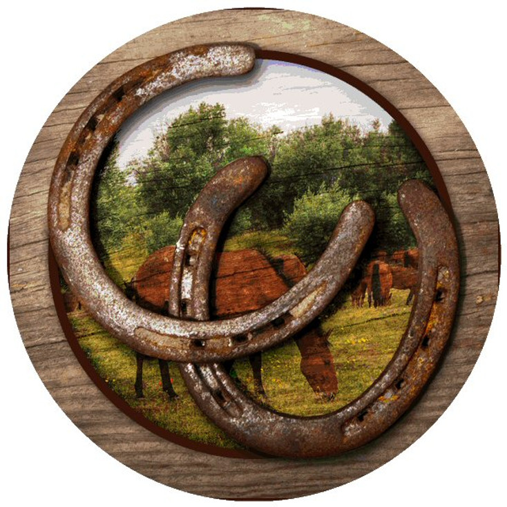 Horseshoes Absorbent Round Beverage Coasters, Set of 12