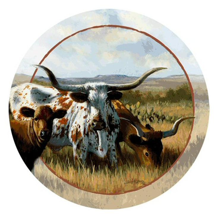 Longhorn Bulls Round Beverage Coasters by Wade Butler, Set of 8