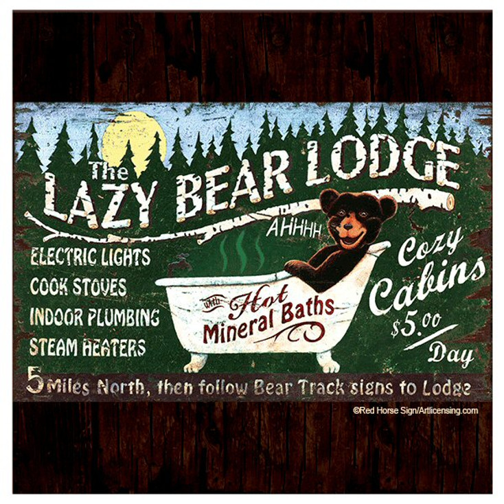 Lazy Bear Lodge Beverage Coasters by Red Horse Signs, Set of 8