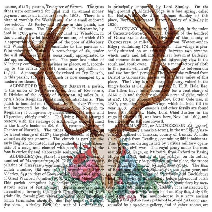 Deer Skull with Flowers Print Absorbent Beverage Coasters, Set of 12