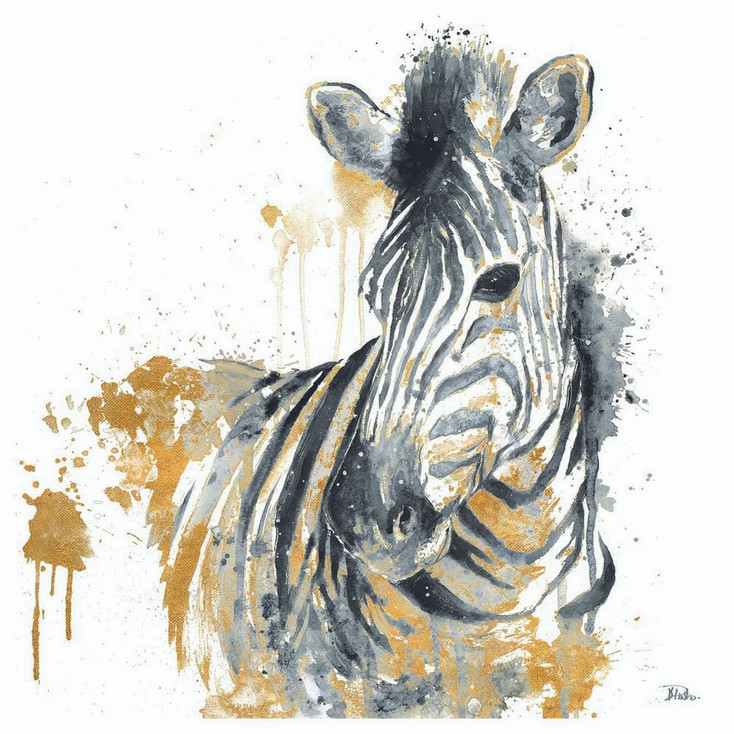 Water Zebra with Gold Absorbent Beverage Coasters, Set of 12