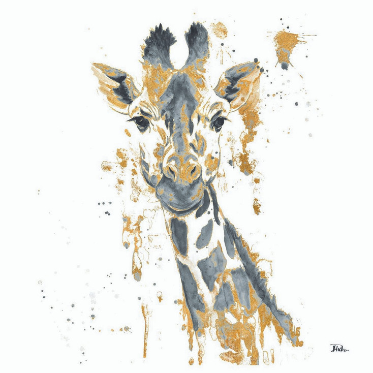Water Giraffe with Gold Absorbent Beverage Coasters, Set of 12