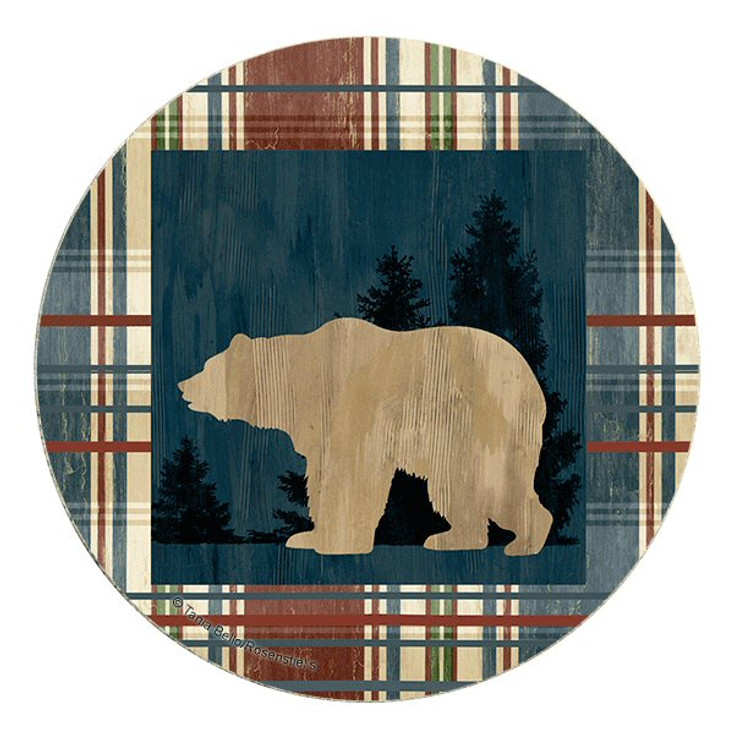 Standing Bear Sandstone Round Beverage Coasters, Set of 8