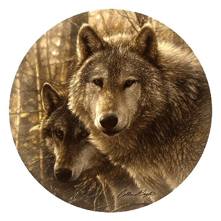 Woodland Companions Wolves Sandstone Coasters by C. Bogle, Set of 8