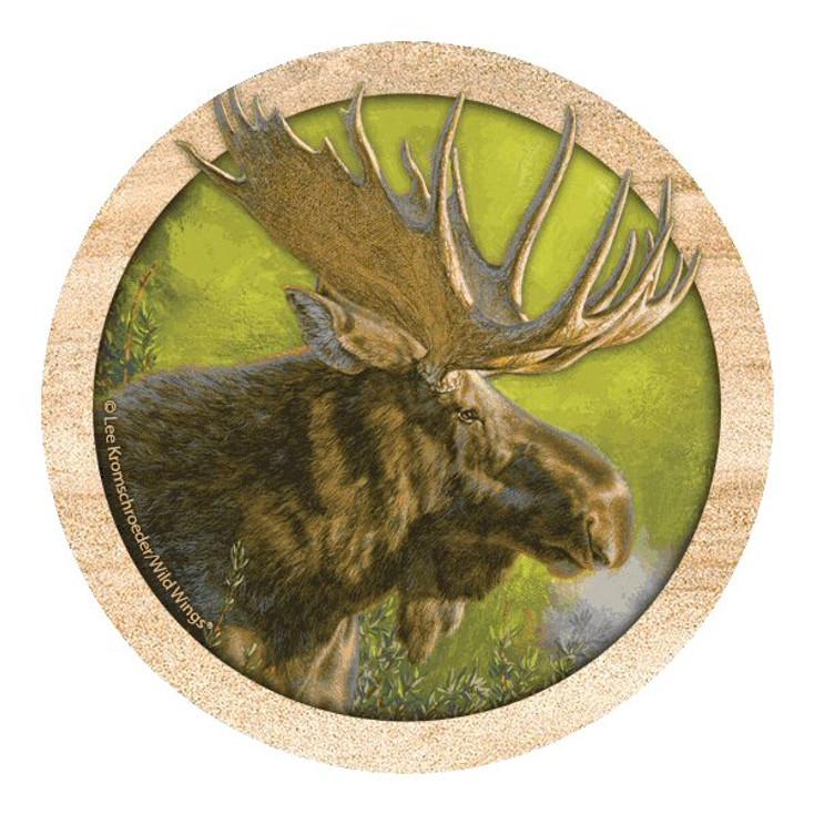 Moose Crisp Fall Morning Coasters by Lee Kromschroeder, Set of 8