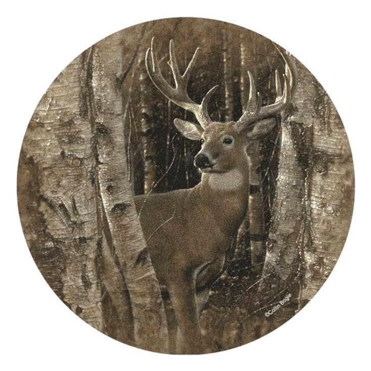 Birchwood Buck Deer Round Beverage Coasters by Collin Bogle, Set of 8