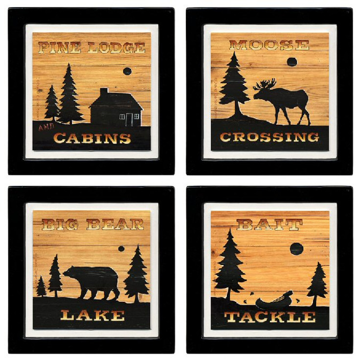 Lodge Silhouettes Beverage Coasters, Set of 8