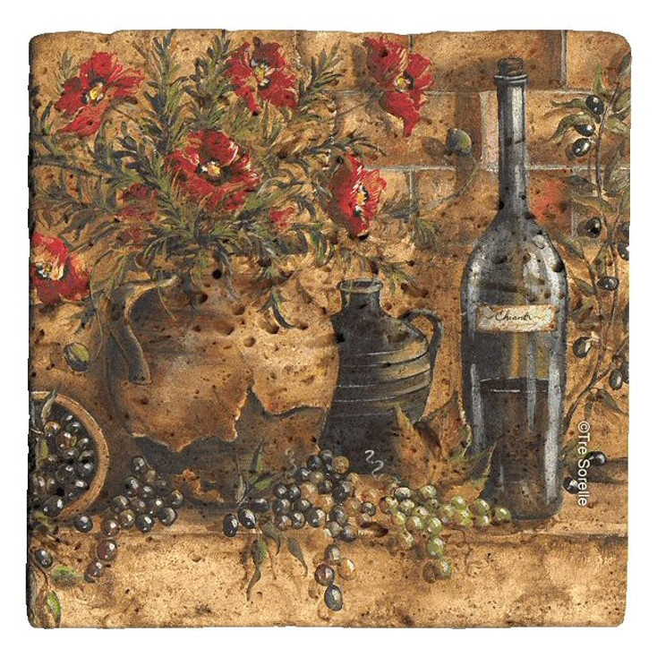 Wine and Poppies Beverage Coasters by Tre Sorelle Studios, Set of 12