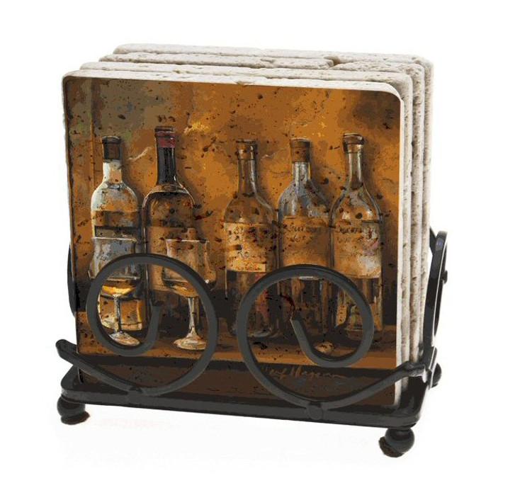 Cellar Whites Wine Stone Beverage Coasters by M. Hagman, Set of 10