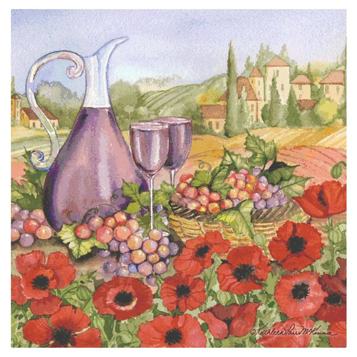 Poppies of Tuscano Beverage Coasters by K. Parr McKenna, Set of 8