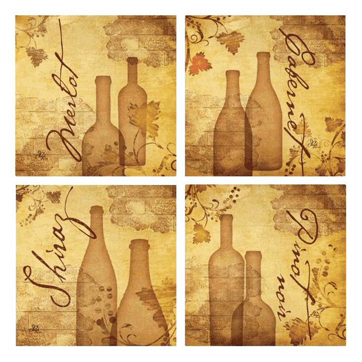 Aged Wine Absorbent Beverage Coasters by Jennifer Pugh, Set of 8