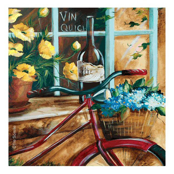 French Bicycle II Beverage Coasters by Tre Sorelle Studios, Set of 8