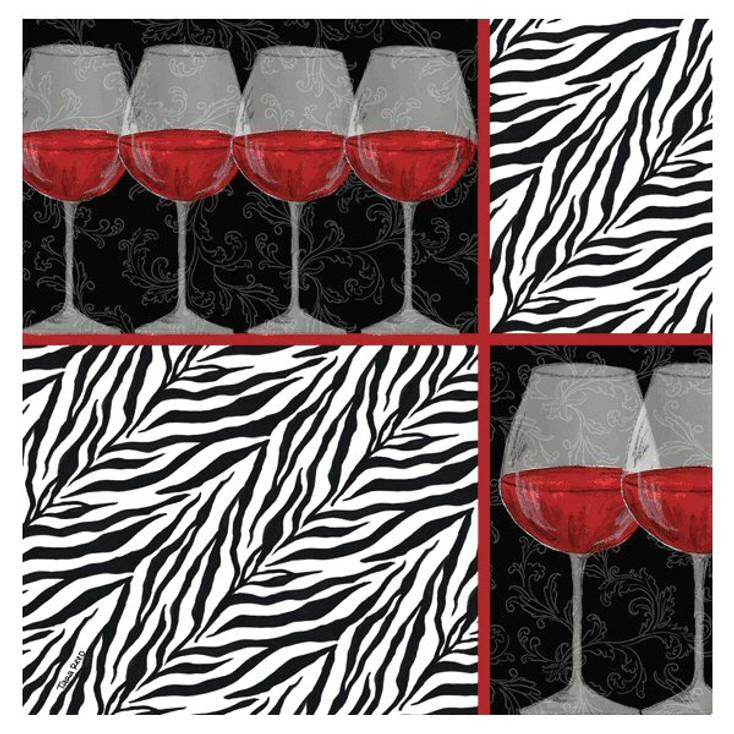 Zebra Wine Absorbent Beverage Coasters by Tara Reed, Set of 8