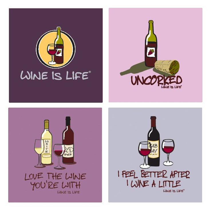 Wine is Life Absorbent Beverage Coasters, Set of 8
