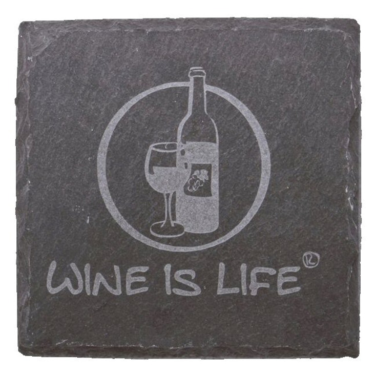 Etched Wine is Life Natural Slate Beverage Coasters, Set of 8