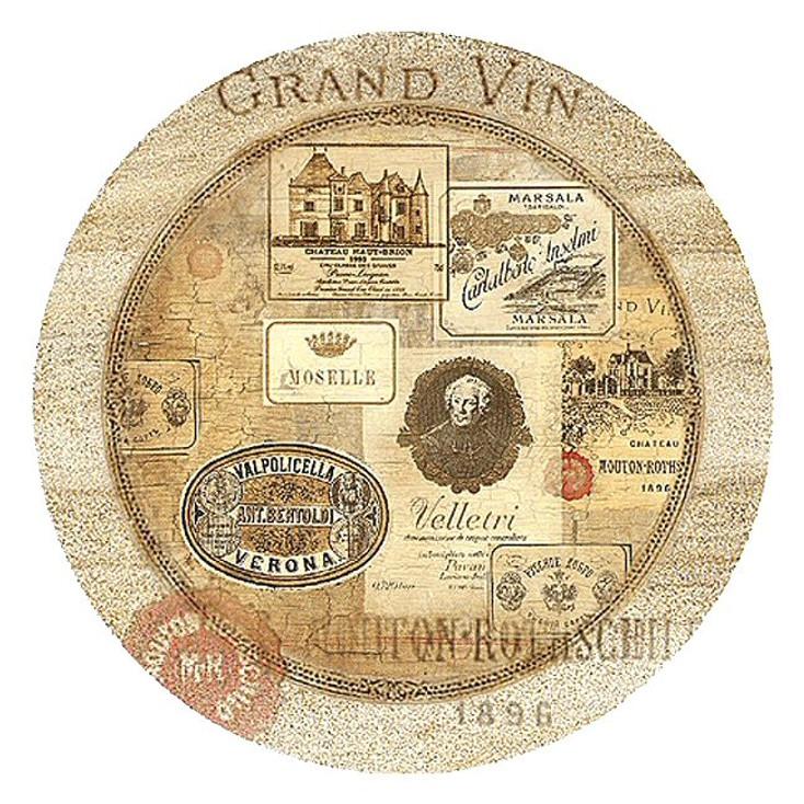 Nostalgic Wine Labels Sandstone Beverage Coasters, Set of 8