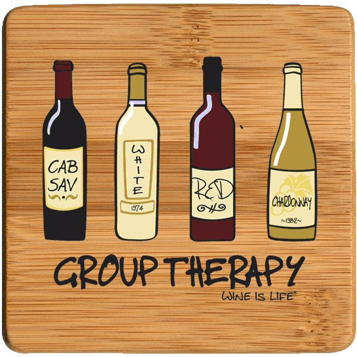 Group Therapy Wine is Life Beverage Coasters, Set of 8