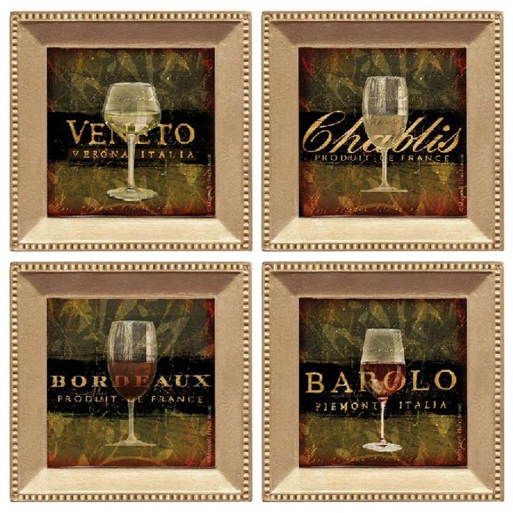 Wine Glasses Beverage Coasters, Set of 8
