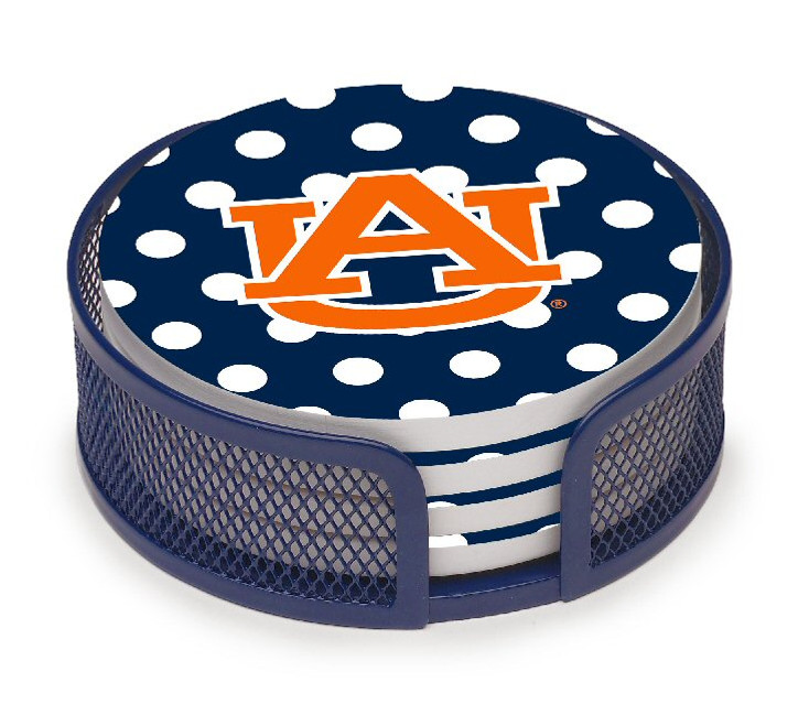 Auburn Tigers Dots Beverage Coasters with Mesh Holders, Set of 10