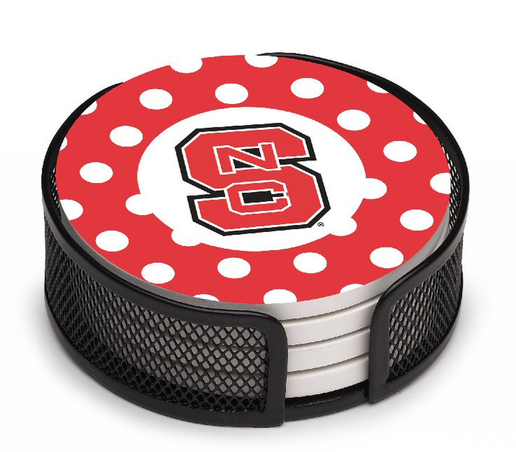 North Carolina State Wolfpack Dots Coasters w/Mesh Holders, Set of 10