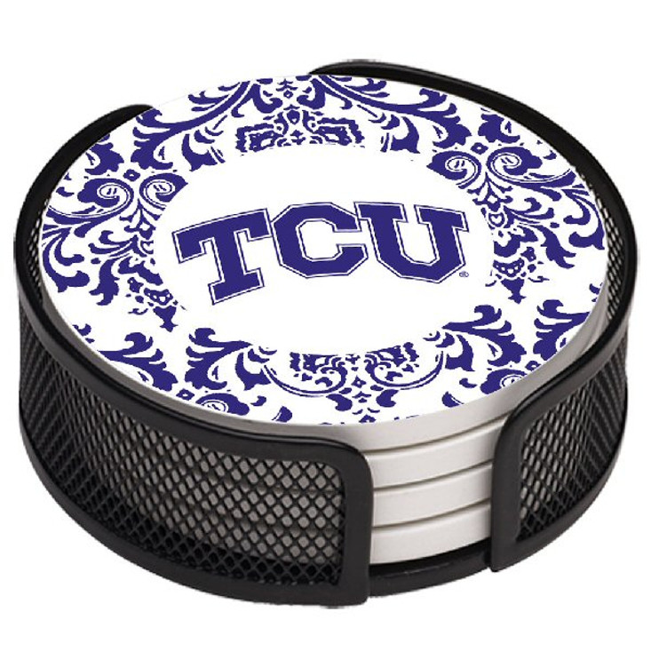 Texas Christian Horned Frogs Pattern Coasters with Holders, Set of 10