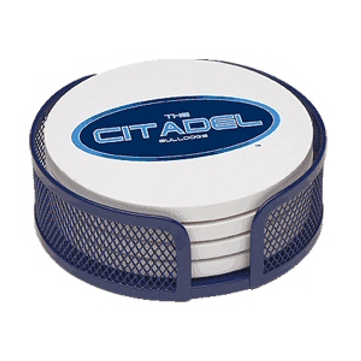 The Citadel Bulldogs Beverage Coasters with Mesh Holders, Set of 10