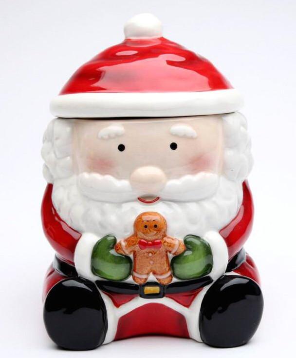 Santa with Gingerbread Man Porcelain Cookie Jar