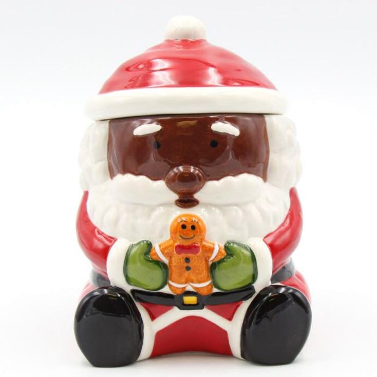 African American Santa Holding a Gingerbread Man Porcelain Cookie Jar
