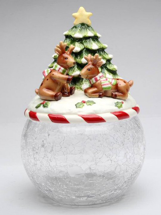 Reindeer with Christmas Tree Glass Cookie Jar by Laurie Furnell
