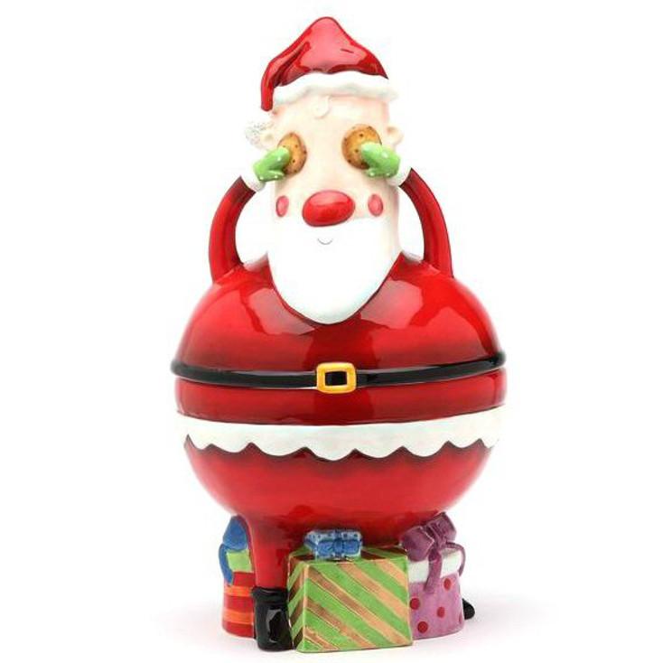 No Peeking Santa Ceramic Cookie Jar