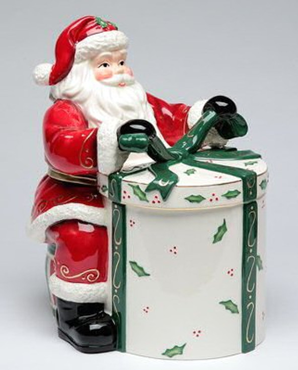 Santa with a Gift Porcelain Cookie Jar