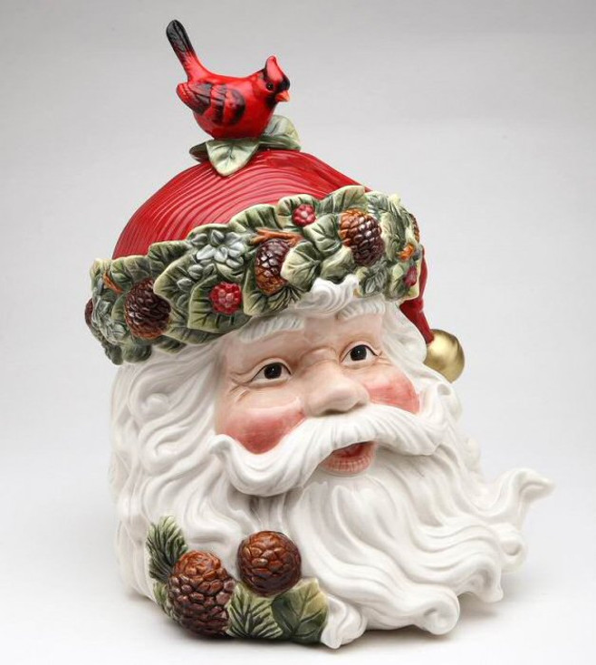 Evergreen Holiday Santa Porcelain Cookie Jar with Cardinal & Pinecones