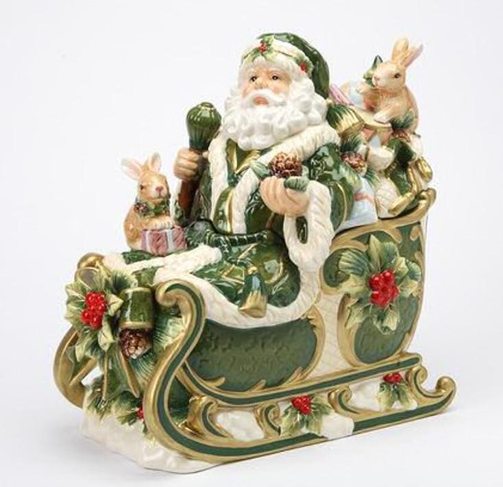 Santa in His Sleigh Porcelain Cookie Jar