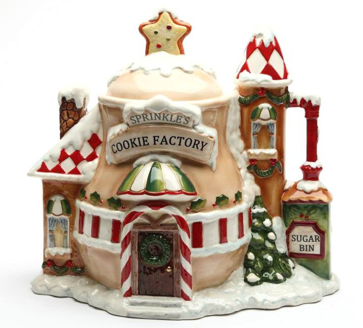 Santa's Village House Porcelain Cookie Jar by Laurie Furnell
