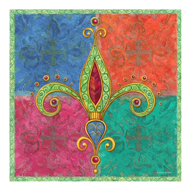 Bright Jewels Fleur De Lis Ceramic Trivet by Jackie Decker, Set of 2