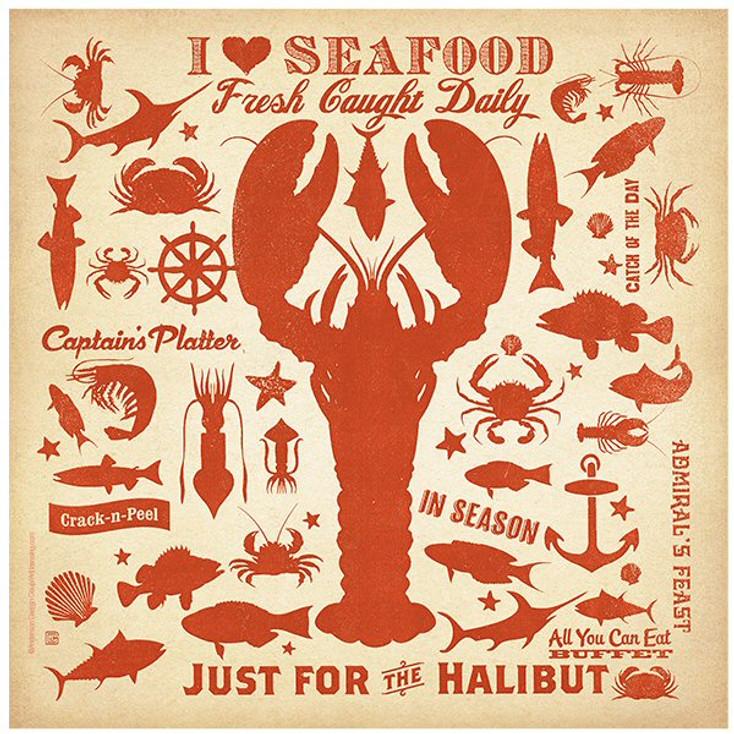 I Love Seafood Ceramic Trivets, Set of 2