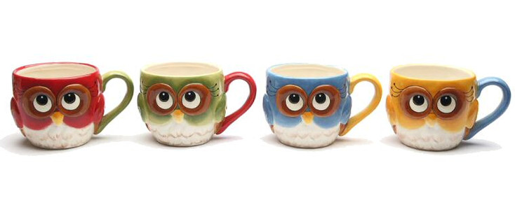 Christmas Owl Bird Porcelain Mugs by Laurie Furnell, Set of 4