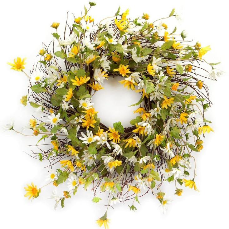 "24"" Yellow and White Daisy Flower Silk Wreath"