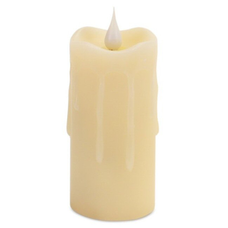 """2"""" x 4"""" Simplux LED Ivory Dripping Candles with Moving Flame, Set of 2"""