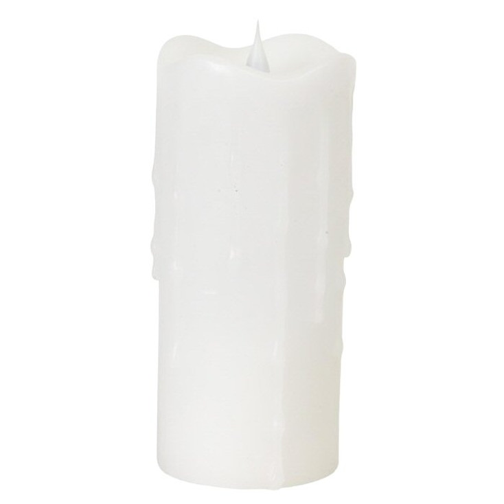 """3"""" x 7"""" Simplux LED White Dripping Candles with Moving Flame, Set of 2"""