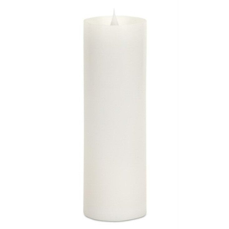 "3"" x 9"" Simplux LED White Pillar Candles with Moving Flame, Set of 2"