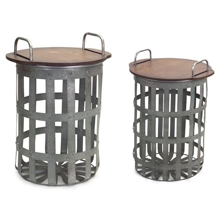 Rustic Baskets Metal & Wood Side Tables, Set of 2