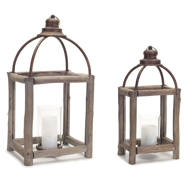 Driftwood and Metal Candle Lanterns, Set of 2