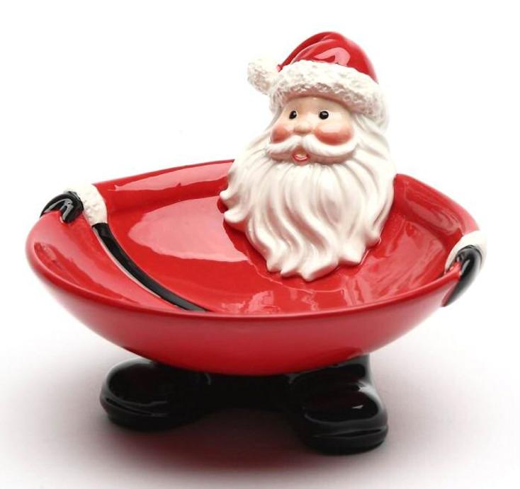Santa Porcelain Candy Bowls, Set of 2