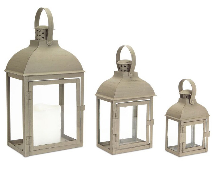 Taupe Shadow Iron Candle Lanterns Candle Holders, Set of 3